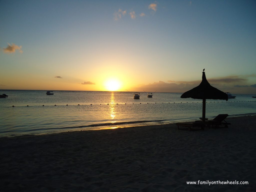 Sunset in Mauritius on the beach